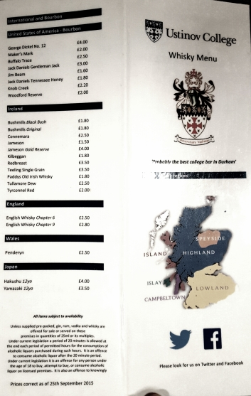 Whisky Menu Page One